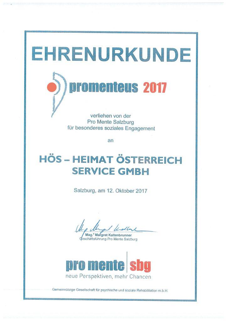 HÖS_Ehrenurkunde_für_soziales_Engagement_promente